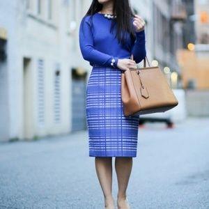 Banana Republic Blue Jacquard Square Pencil Skirt